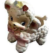 Mid-Century Ruben's Curly Hair Lamb, Planter, Nursery, Easter, Ceramic Japan Figurine 579X