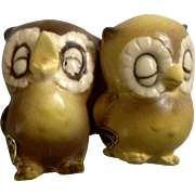 Vintage Josef Originals Sleeping Baby Owls Miniature Ceramic Japan Animal Figurine