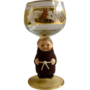 Frier Tuck Monk Wine Glass Goblet, Goebel Bocking Neudenau West Germany Etched Gold Grape Vine