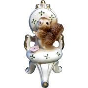 Vintage Ucagco Spaghetti Squirrel in Chair Porcelain Figurine with Pink Flower Japan