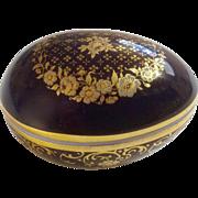 Limoges Castel France Cobalt Blue Gold Floral Motif Trinket Box Porcelain Egg