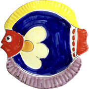 Vintage La Musa Fish Wall Hanging Hand Painted Ceramic Pottery Made in Italy Signed By Artist