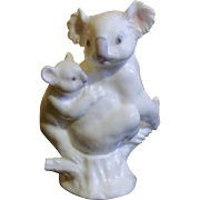 Noritake Koala Bear Bone China Animal Figurine Mother and Baby in a Tree Stump Studio Collection Japan Hard to Find