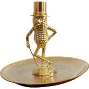 Vintage Planters Mr. Peanut Die Cast Nut Tray Made in the U.S.A. Gold Tone Plating