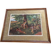 M. F. Robison, Watercolor Painting Indian War Party Watching Wagon Train, Works on Paper Signed by Artist