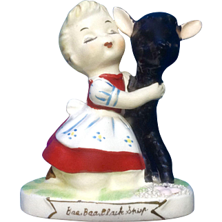 Vintage Wales Baa Baa, Black Sheep Nursery Rhyme Girl Hugging Lamb Figurine Japan