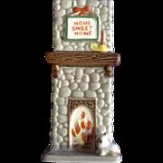 Rare Vintage Josef Originals Home Sweet Home Fireplace Chimney Match Holder Vase Ceramic Japan Animal Figurine