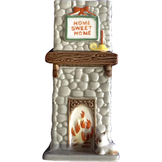 Rare Vintage Josef Originals Home Sweet Home Fireplace Chimney Match Holder Vase Ceramic Japan Animal Figurine