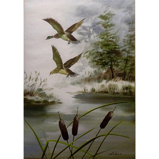 Wan, Mallard Ducks in Flight Over a Marsh, Wildlife Watercolor Painting Signed by Artist