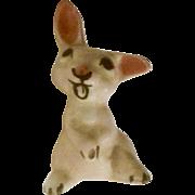 Rare Vintage Hagen Renaker Pink Miniature Listening Baby Bunny Rabbit Monrovia Figurine #199