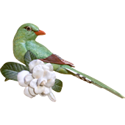1987 Franklin Mint, Tropical Birds and Flowers Series, Green Magpie, Fine Porcelain Figurine Mounted on a Crystal Glass Rod