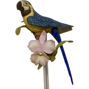 1987 Franklin Mint, Tropical Birds and Flowers Series, Blue Macaw Parrot Fine Porcelain Figurine Mounted on a Crystal Glass Rod