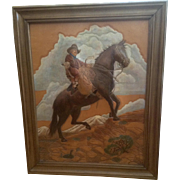 Leather Art Painting Cowboy Rescued Calf on Horse Hand Tooled Monogrammed by Artist