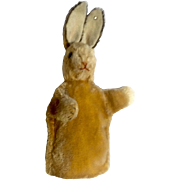 1960's Vintage Steiff Germany Rabbit Hand Puppet Plush Mohair With Glass Eyes and Original Button in Left Ear