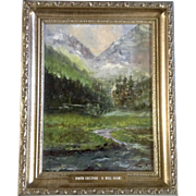 D. Hall Adams, North Crestone Mountain Peak Impressionist Oil Painting on Canvas Signed by the Artist
