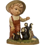 Little Boy About to Pet the Skunks Ceramic Animal Figurine C866 by Marks and Rosenfeld