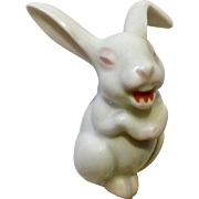 Rosenthal Max Fritz's Small Laughing Bunny Rabbit Discontinued Pink and White Germany Porcelain Figurine 2 inch
