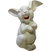 Rosenthal Max Fritz's Laughing Bunny Rabbit Discontinued Pink and White Germany Porcelain Figurine 5-1/2 inch