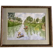 M Pizel, Primitive Watercolor Painting Colorful Barges Float Down River Signed by Artist