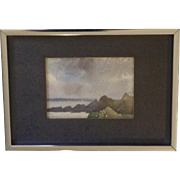 Small Skyscape Watercolor Painting behind Frosted Glass