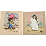 Gerda Christoffersen 1950's Art Serigraph Native American Indian Children Portraits #277 & 279 Printed on Velour Paper
