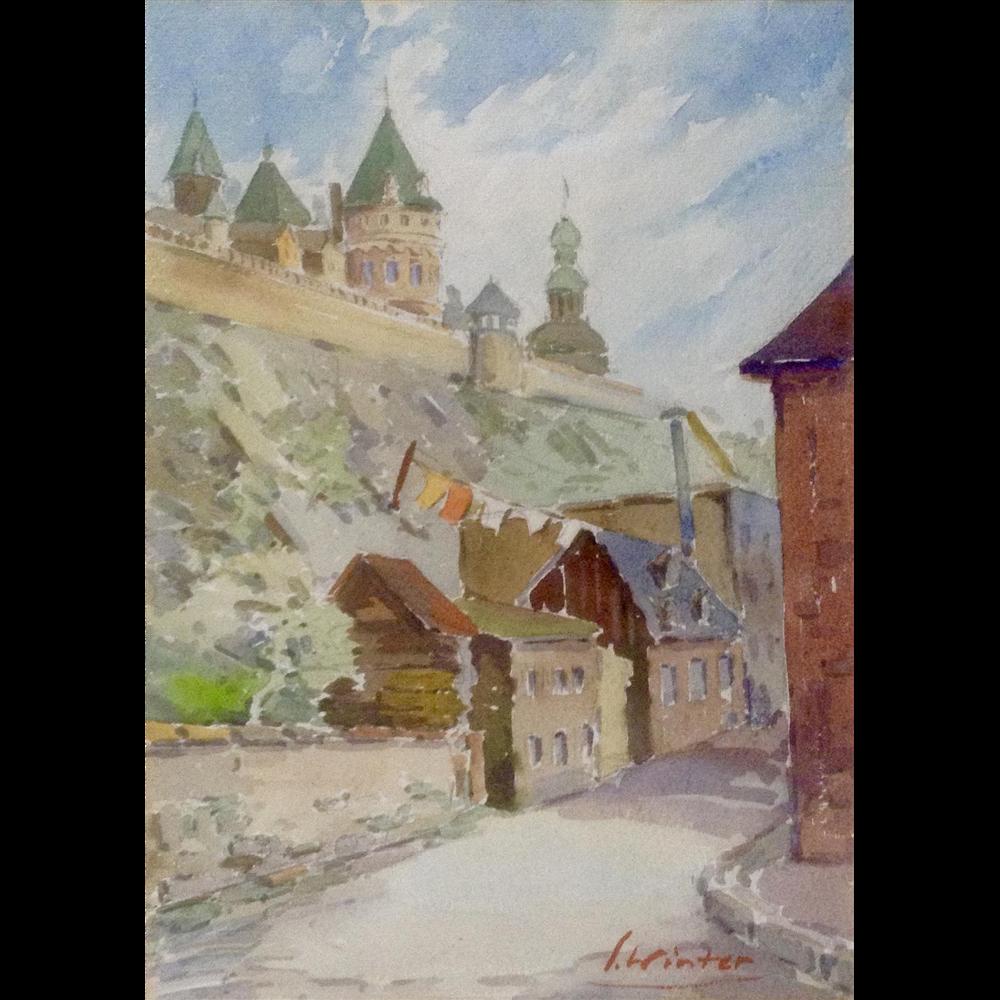 L Winter European Castle Landscape Watercolor Painting