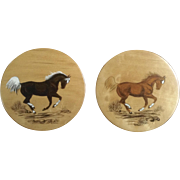 Ketchum, Vintage Set of Hand Painted Horses on Oregon Myrtlewood Gift Shop Souvenir Wall Plaques