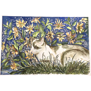 Hida Watercolor Painting Blue Eyed Cat in Garden of Flowers Signed by Artist
