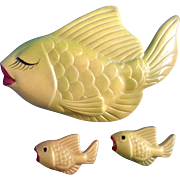 Vintage Miller Studio Chalkware Fish Family Rare Color Dark Yellow Green Highlights Glaze Finish