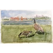 Geese on Grass by River Watercolor Painting Monogrammed by Artist