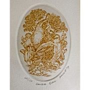 Marsha K Howe, Numbered Limited Edition Etching Print, Gamble Quail, 1979 Signed by Listed Artist