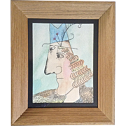 Barbara Frochlich, The Modern Man, Cubist Pen and Ink Drawing and Watercolor Painting Works on Paper Signed by Artist