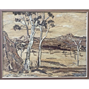 J. Dalton, Eucalyptus Trees in Australian Outback Wood Bark Picture Signed by Artist
