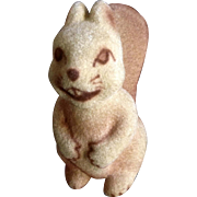 Vintage Rare Flocked Squirrel #238 Fuzzy Figurine Animated Cutie Face Ceramic
