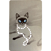 Retro Siamese Cat Playing Cards Full Deck 54pc Mid-Century