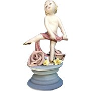 Early Susi Singer California Studio Art Pottery Hand Sculpted Child Dancing Figurine Pastel Colors 255