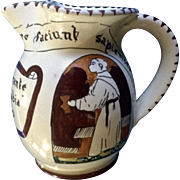 Vintage Italian Souvenir Hand Painted Art Pottery Pitcher Ristorante Alla Badia Made in Italy