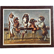 Miree Big Eye Dogs Bar Scene Mid-Century Print Champion Products Wall Plaque Never Removed From Plastic Film