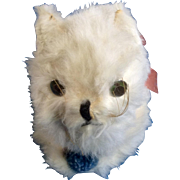 Adorable Vintage White Cat, Doll Pet 1940-1950s Real Rabbit Fur Stuffed Plush moving Eyes