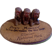 Vintage Hear no Evil, Speak no Evil, See no Evil Monkey on Leather Souvenir of Glacier National Park