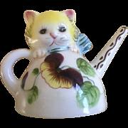 Cute Single Little Kitten in Pansy Tea Pot Salt or Pepper Shaker PY Miyao Miyawo Japan Ceramic for Replacement