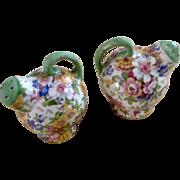 Vintage Czechoslovakia Floral Transferware Teapot Salt & Pepper Shakers Ceramic Figurines