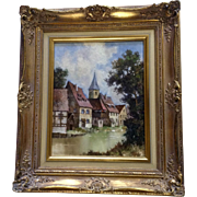 J Hohenberger, Medieval Town with Partially Exposed Timbers on a River Landscape Oil Painting on Board Signed by Listed Artist