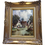 J Hohenberger, Medieval Town on a River Woman Feeding Chickens Oil Painting on Board Signed by Listed Artist