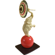 Vintage Celluloid Circus Elephant on Ball Holding an Umbrella Miniature Figurine Made in Japan Toy
