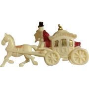 Vintage Celluloid Coach with Horse Hand Painted Made in Japan Figurine 1930's-1940's Miniature Toy