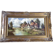 J Hohenberger, Medieval Town on a River in Country Landscape Oil Painting on Board Signed by Listed Artist