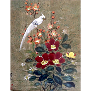 White Bird with Red Flowers Signed by Artist Watercolor Casein Painting on Cork Paper,