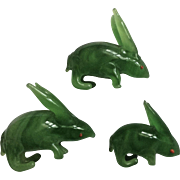 Vintage Bunny Rabbits Handmade Green Glass Animal Figurines with Red Eyes