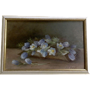 Harriet Freeman Wright (1852-1926) Still Life Oil Painting on Board Signed by Listed Colorado Artist